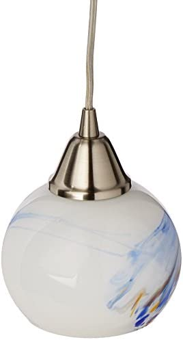 Elk 101-1MT-LED Mela 1-LED Light Pendant with Mountain Glass Shade, 6 by 6-Inch, Satin Nickel Finish