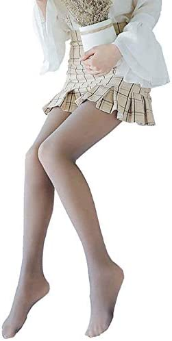 PoJu Legs ,  False ,  Translucent ,  Warm Fleece Tights for Women ,  Lined with Fleece ,  Thickened Tights for Everyday Autumn and Winter (Color : Gray)