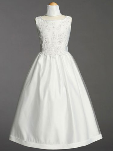 White Satin Communion Baptism Dress with Beaded Applique - Size 14X by Lito