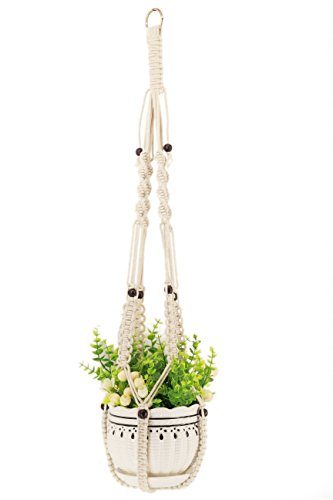 Kingbuy Decorative Plant Hanger Hanging Plant Hanger Macrame Indoor Outdoor Hanging Planter Basket Cotton Rope 4 Legs…