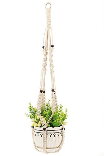 Kingbuy 37 Inch Macrame Plant Hangers No Tassels Hanging Planter Basket Decorative Flower Pot Holder Cotton Rope with…