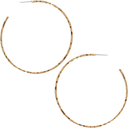 (Humble Chic Big Hoop Earrings - Textured Open Round Statement Loops with Hypoallergenic Stainless Steel Post, Hammered Cut 18K Yellow, Gold-Electroplated)