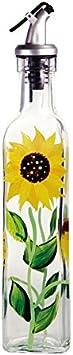Glass Sunflower Oil & Vinegar Bottle, Handmade