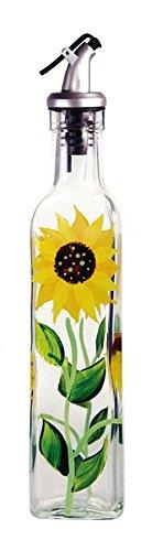 Grant Howard Glass Sunflower Oil & Vinegar Bottle (Decor Olive Kitchen)