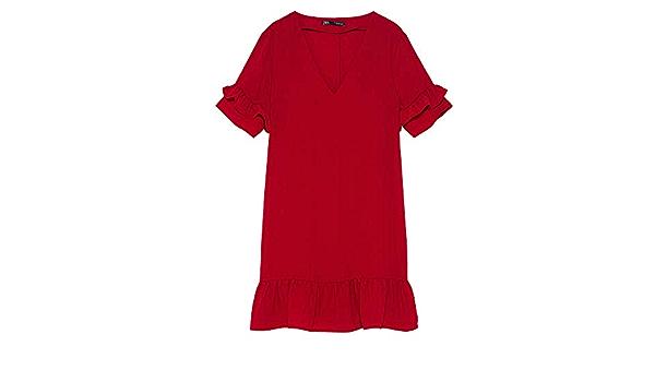 Zara 3666/161 Vestido con Volantes para Mujer - Rojo - XX ...