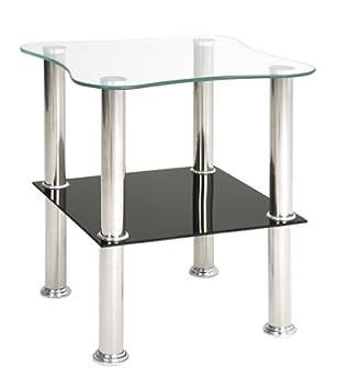Beistelltisch Bzw Nachttisch In Schwarz Und Weissem Glas Masse