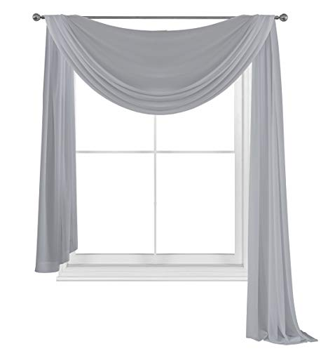 WPM WORLD PRODUCTS MART Drape/Panels/Scarves/Treatment Beautiful Sheer Voile Window Elegance Curtains Scarf for Bedroom & Kitchen Fully Stitched and Hemmed (Grey, 38