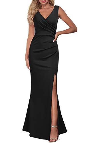 WOOSEA Women Sleeveless V Neck Split Evening Cocktail Long Dress Black