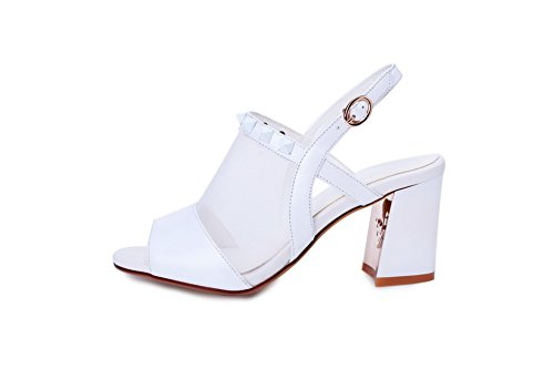 WeenFashion Toe Women's Leather Cow Buckle High Solid Sandals Heels Rivet Open with White rqrXwH4d