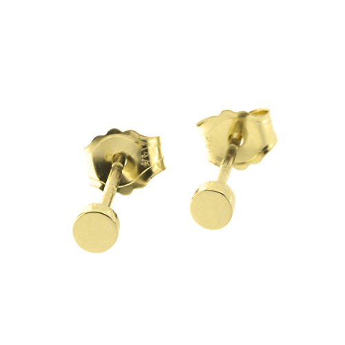 14k Gold Small Circle - Automic Gold Solid 14k Yellow Gold Circle Earrings, 2.5mm