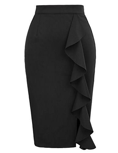 (GRACE KARIN Womens Stretchy Slit Wear to Work Office Pencil Skirt Size S Black)