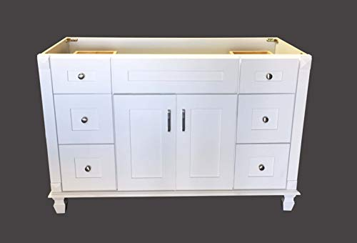 (White Shaker solid wood Single Bathroom Vanity Base Cabinet 48