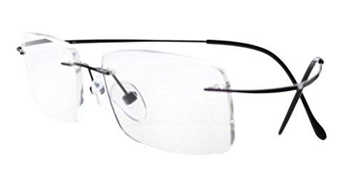 Eyekepper Titanium Rimless Reading Glasses Readers Men Women Black +0.5