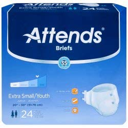 Attends Youth Brief, Extra Small / Youth, Heavy Absorbency, BRBX10 - Case of 96