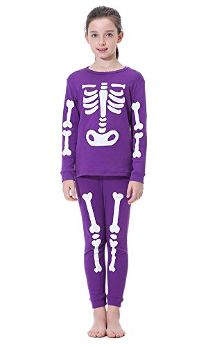 Children Halloween Pajamas Set, Boys Girls Glow-in-The-Dark Pjs, Unisex Kids 100% Cotton 2 Piece Sleepwear Set(4T,Glow Skeleton Purple)