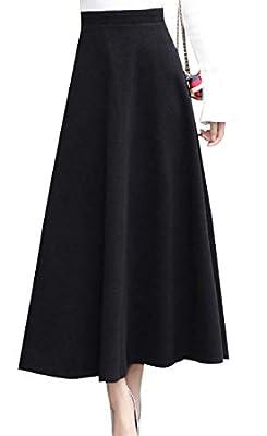 SportsX Women's Wool Blended Fold Over Waist Long Maxi Skater Skirt