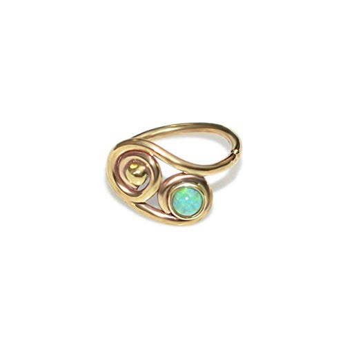 (2mm Kiwi Opal Tragus Earring Gold 20g / Tragus Hoop, Helix Earring, Nose Ring)