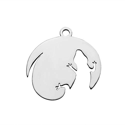 B.D craft 10pcs Animal Jewelry Theme Polished Stainless Steel Lizard Pendant Cute Gecko Silhouette Dangle Charms Jewelry Making Findings, 19x20mm ()