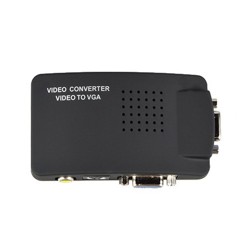 SLLEA RCA Composite AV S-Video to VGA Converter Box for DVD DVR VCR Monitor Cheap (Vga Converter Box)