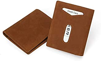 sciuU Cartera de Cuero, RFID Bloqueo, Ultra Delgada Bolsillos en Cuero de Grano Entero, con Bolsillo para Monedas