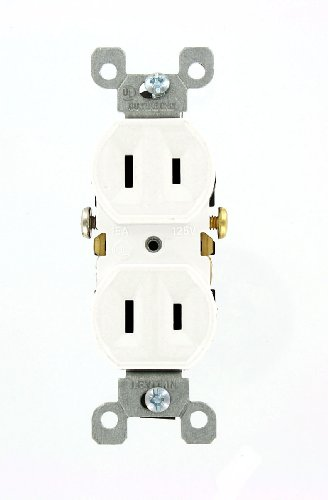 2 Prong Outlet (Leviton 223-W 15 Amp, 125 Volt, Duplex Receptacle, Residential Grade, Non-Grounded, White)