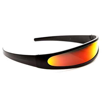 zeroUV - Futuristic Narrow Cyclops Color Mirrored Lens Visor Sunglasses