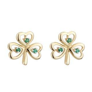 (Solvar 14K Emerald Shamrock Earrings)