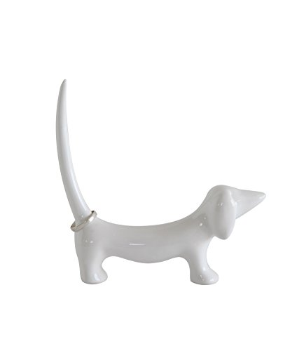 Animal Ring Holder - Creative Co-op Stoneware Dachshund Shaped Ring Holder, White