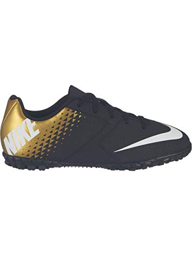 Nike Junior Bomba TF Turf Soccer Shoes (Black/White/Gold) (5.5)