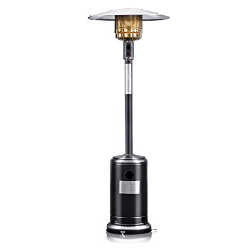 COSTWAY 13KW Gas Patio Heater, Variable Power Control, Stainless Steel Outdoor Garden Freestanding Heater with Hose & Regulator, Safety Auto Shut off Protection, 2 Wheels & Built-in Handles