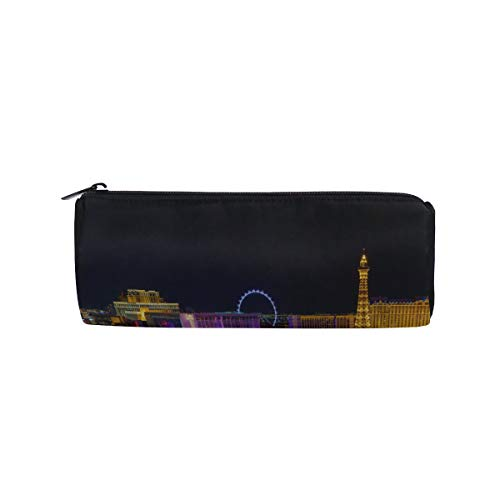 Las Vegas Avenue Nevada USA Night Students Super Large Capacity Barrel Pencil Case Pen Bag Cotton Pouch Holder Makeup Cosmetic Bag for - Vegas All Las Vacations Inclusive
