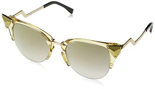 Fendi Women's Iridia Crystal Corner Sunglasses, Yellow Gold/Grey, One ()