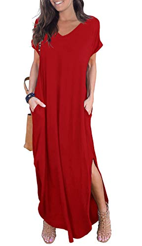 GRECERELLE Womens Casual V Neck Side Split Beach Long Maxi Dress Red M