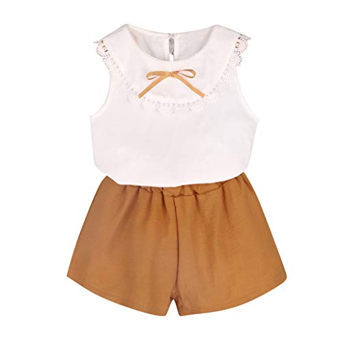 Fabal Toddler Kids Baby Girl Outfits Clothes Doll Collar Bowknot Shirt Vest+Shorts Set White