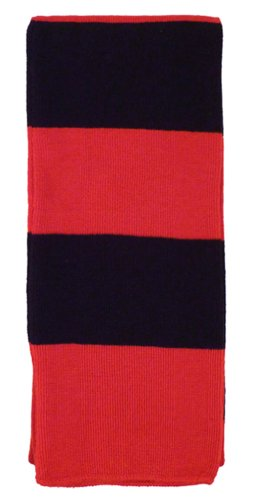 Simplicity Classic 2 Tone Stripes Printed Winter Scarf, (Red Stripe Scarf)