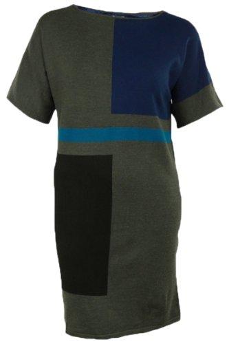Colorblocked Short Dolman Sweater Dress (L, Carbon Heather Combo) Dolman Sweater Dress