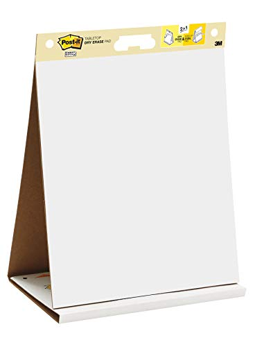 Post-it Super Sticky Portable Tabletop Easel Pad w/ Dry Erase Panel, 20x23 Inches, 20 Sheets/Pad, 1 Pad, One Side White Premium Self Stick Flip Chart Paper, One Side Dry Erase, Built-in Stand (563DE) - One Color Desk Pad
