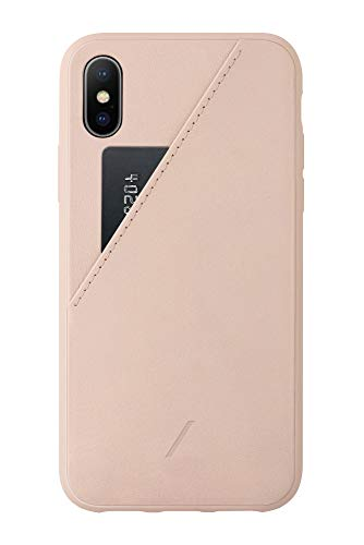 Native Union Clic Card Case - Leather Cover with Card Holder - Compatible with iPhone X/XS (Rose)
