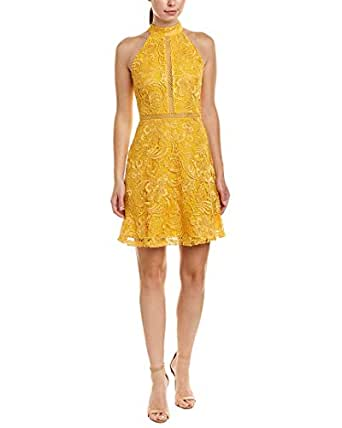 Alexia Admor Women S Mock Neck Fit Amp Flare Lace Dress Gold