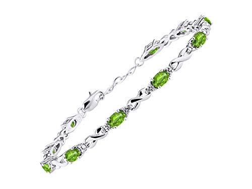 Stunning Peridot & Diamond XOXO Hugs & Kisses Tennis Bracelet Set in Sterling Silver - Adjustable to fit 7