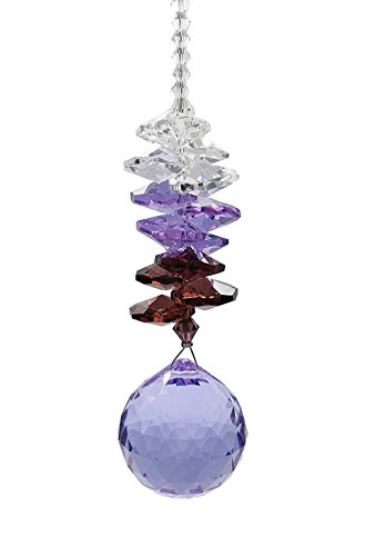 Waner 30mm Purple Crystal Ball Prism Suncatcher Feng Shui Products for Positive Energy ()