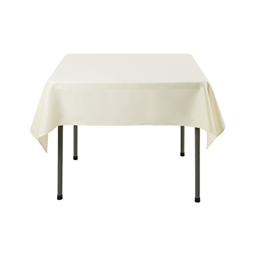 Waysle 52 x 52-Inch Square Tablecloth, 100% Polyester Washable Table Cloth for Square or Round Table, Ivory