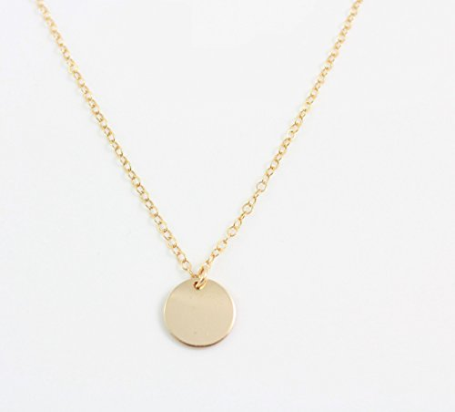 Simple, Delicate Necklace • Blank Gold TINY DISK • HIGH QUALITY 14K Gold Fill Mini Disc Gold Coin Necklace • Tiny Circle (Tiny Tag Necklace)