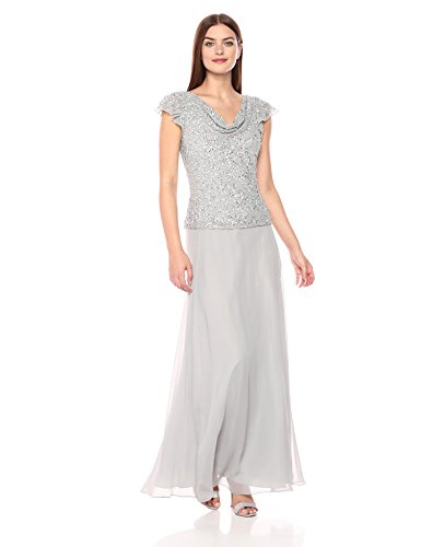 J Kara Women's Petite Long Beaded Cowl Neck Flutter Sleeve Gown Dress, Silver/Silver, 12P