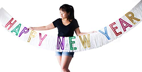 Happy New Year's Eve Banner. Large, 10 feet across. With colorful glitter words and fringe.