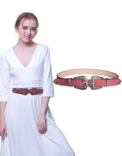 Western Belts for Women, Vintage Design Leather Belt with Western-style Buckle, Black Waist Belt for Pants Jeans Dresses (Purplish red-Double buckle, 27Inch(Suit waist - Leather Red Belt Western