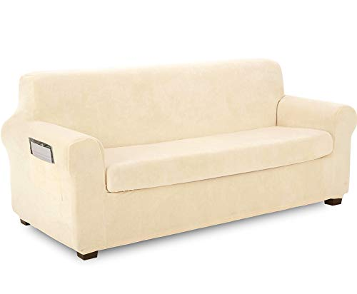 TIANSHU Fleece Slipcover 2 Piece, Velvet Plush Couch Cover for Sofa, Stylish Luxury Furniture Covers with Utility Pockets (Sofa, Ivory)