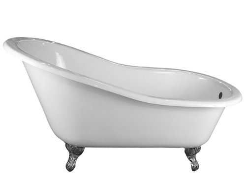 Barclay Cast Iron Slipper Tub (Barclay CTSN57-WH-CP Cast Iron Slipper Tub with 7-Inch Deck Centers, 61-Inch)