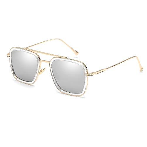 Vintage Aviator Square Sunglasses for Men Women Gold Frame Glasses Retro Brand Designer Classic Tony Stark Glaases (Best Quality Sunglasses Brands)