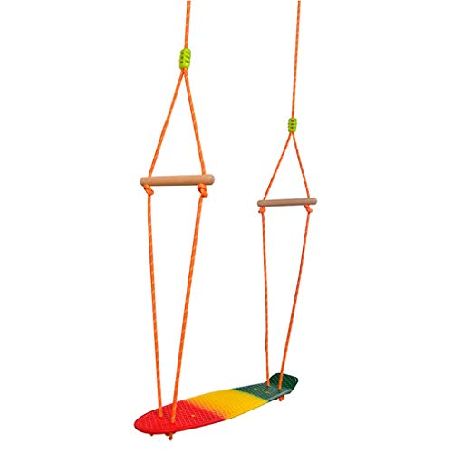 Children Indoor and Outdoor Plastic Skateboard Swings Toys Hanging Swings Garden Sports Training to Expand Swings (Color : Colored, Size : 22.045.70.39inchs)
